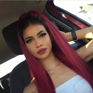 Ombré red synthetic hair lace front wig.
